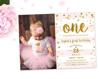First Birthday Invitation Girl 1st Birthday Invitation Pink and gold glitter first birthday, Blush Pink Confetti printable photo invite