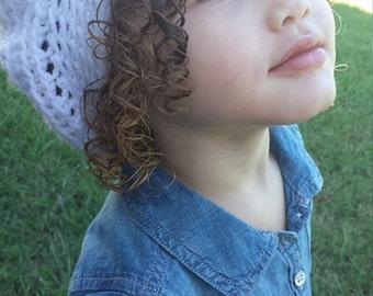 Crochet Toddler Slouch Hat/Beanie in White.