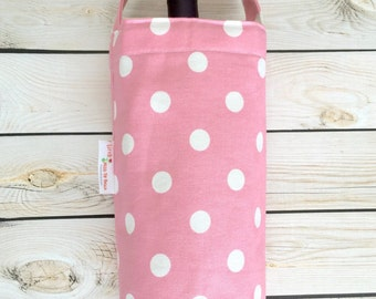 Reusable Wine Tote Bag, Wine Holder, Wine Carrier, Wine Gift Bag, Canvas Wine Tote, Pink Polka Dot Print Wine Tote Bag