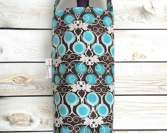 Black and Turquoise Wine Tote Bag, Wine Carrier, Wine Gift Bag, Canvas Wine Tote, Wine Tote Bag