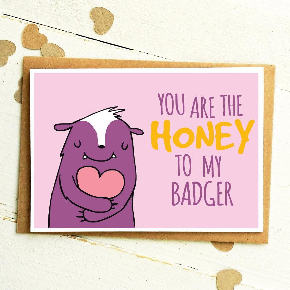 Honey badger funny love cards anniversary card