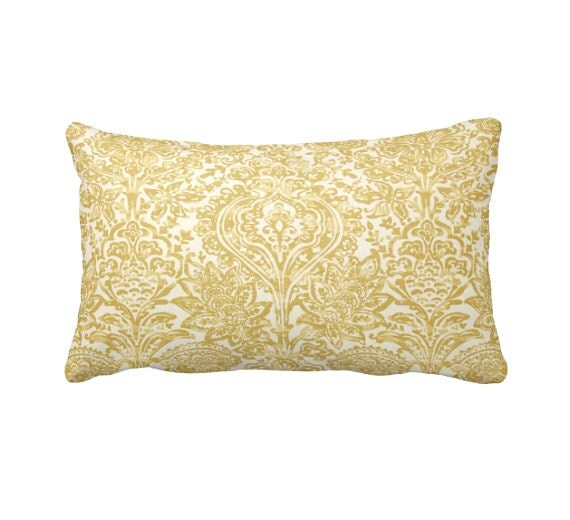 Common Decorative Pillow Sizes : 7 Sizes Available: Lumbar Pillow Damask Pillow by ReedFeatherStraw