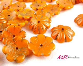 10 pcs Rustic Orange Large Czech Glass Beads Mix, 14mm Bell and Flower Beads, Textured Bronze Patina Cup Flower Beads