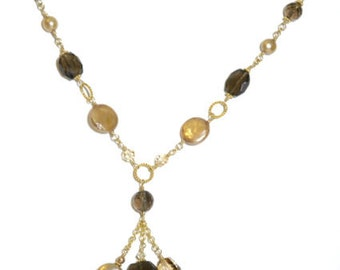 14k Gold Filled Smoky (Smokey) Quartz & Coin Pearl Y Necklace
