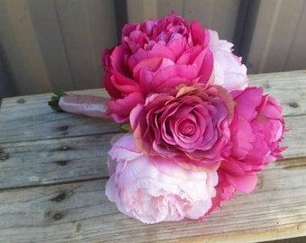 Pink Rose and Peony Silk Wedding Bouquet Blush Pink