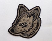 """Hand Embroidered Patch, Desert Dog. Canvas & Felt Sew On Patch, Charm. Southwest, Coyote, Wolf, Dog Head, Animal. Made to Order ~ 2.5"""" x 3"""""""