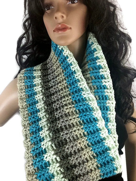 Outlander Striped Cowl - Gift Under 50 - Turquoise Brown White Scottish Winter accessories Circle Scarf Crochet Knit FREE SHIPPING CS10