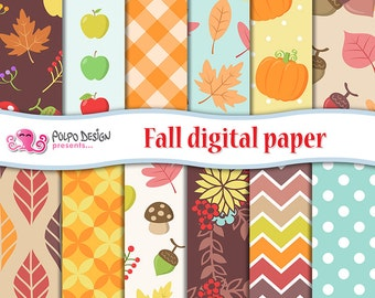 Fall digital paper. Autumn digital paper, leaves pattern, Fall Patterns, Fall backgrounds, Thanksgiving Patterns Harvest Fall Seamless Paper