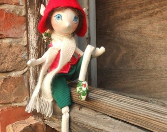 Unique Fabric Doll , Christmas Dolls , Unique Elf Doll , Organic Doll , Elf Fabric Doll, Natural Fabric Doll, Waldorf Fabric Doll, Elf Doll