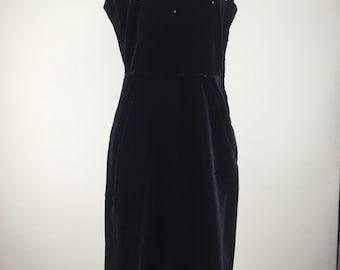 Vintage 1960s Velvet LBD Cocktail Dress with Rhinestones