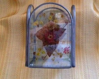 Leaded Glass Pressed Flowers Candle Holder, Tea Light Holder, Votive Holder, Candle Holder, Pressed Flowers, Clear Glass Candle Holder