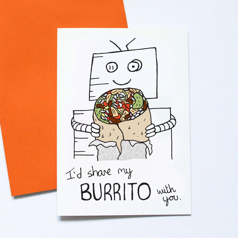 Burrito Valentines Card Funny Burrito Card Geek Valentine