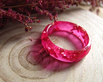 Pink Resin Ring, Thin Stacking Ring, Pink Faceted Ring, Gold Flakes Ring, Minimal Resin Ring, Eco Resin Jewelry, Christmas Gift for Women