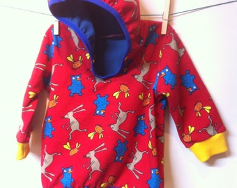 Jacket with hood by 2 layers stretchable cotton, 68 mt, 3-6 months