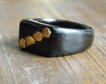 Black Ebony wood ring with Natural Gold Nuggets ring size 10