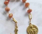 Chaplet - Sunstone St Jude Thaddeus Chaplet - 18k Gold Vermeil