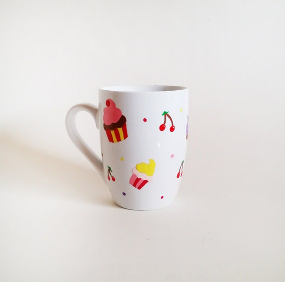 "Mug - Hand painted White Ceramic Mug, ""Cupcakes and cherries"""