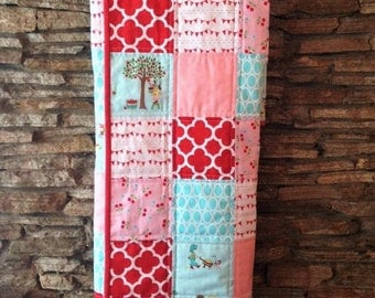 Modern Baby Quilt, Baby Girl Pink, Red and Aqua Quilt, Girl Quilt