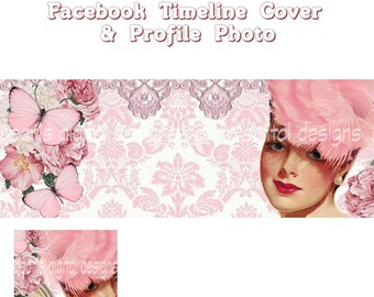 2 PC Facebook Timeline Cover and Profile, Instant download, blank, Fanny In Pink feathered hat,  butterflies roses, pin up girl face lace