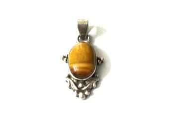 Tiger Eye Pendant - Sterling Silver Pendant, Designer Pendant, Silver Pendant - Handmade Pendant, Gemstone Pendant - Artisan Pendant
