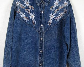 Acid Wash Denim Western Shirt Women's Large Long Sleeve Button Down