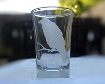 Raven Shot Glass, Halloween Shot Glass, Crow Shot Glass, Blackbird Shot Glass
