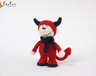 Halloween Devil doll, crocheted devil, Halloween gift, amigurumi devil, Halloween toy - Matt the Devil-boy