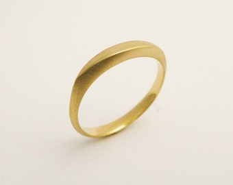 Brushed gold wedding band, Delicate gold wedding ring, Simple ring for women, Thin wedding band, Minimalist gold ring, 14/18  K solid gold