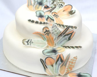 Edible Feathers Chocolate Orange Boho Wedding Cake Decorations Wafer Rice Paper Mint Coral Rustic Birthday Party Cupcake Toppers Cookies RTD