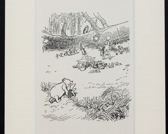 Winnie The Pooh,  Pooh, Piglet & the Fallen Tree, Matted Vintage Black and White Print