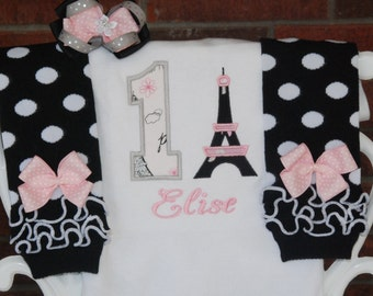 Baby Girl First Birthday Outfit! Baby Girl Paris Birthday Outfit! Birthday in Paris outfit/1st birthday outfit/Pink, black and gray