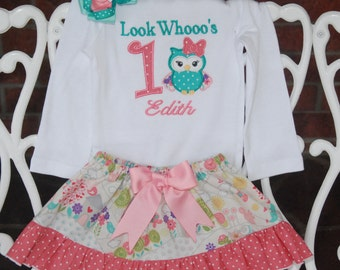 Baby Girl Owl Birthday Outfit! Baby Girl Owl 1st Birthday Outfit with applique bodysuit/shirt, ruffle skirt and hair bow!