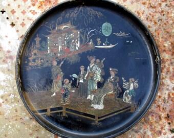 Antique papier mâché (paper mache) Asian scene plate