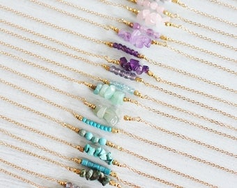 Gemstone Bar Necklace - Gemstone Necklace - Birthsone Necklace - Tiny Gemstone Necklace - Crystal Bead Bar Necklace - Crystal Necklace