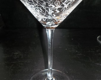 Etched Martini Glass