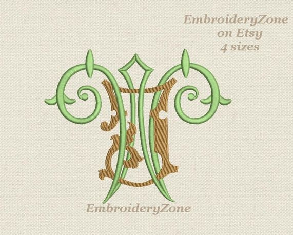 Double antique monograms from old books j w embroidery