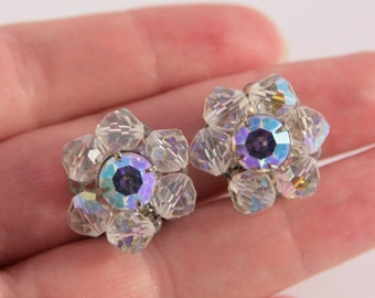 White Rhinestone Clip On Earrings Round Cluster Aurora Borealis Pastel Blue Lavender Wedding Day Jewelry