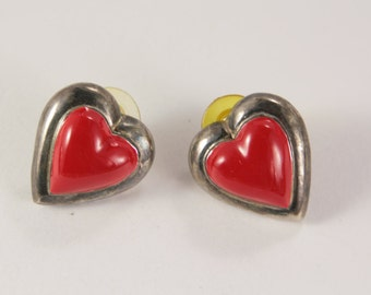 Red Heart Earrings, Stud Earrings, Valentine Gift for Her, Love You Jewelry, Vintage