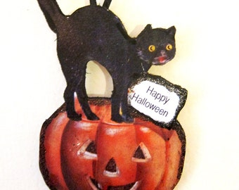 Black Cat on Pumpkin Handcrafted Wood Halloween Ornament, Carved Jack o' Lantern Fall Decoration, Halloween Magnet, October 31 Party Favor