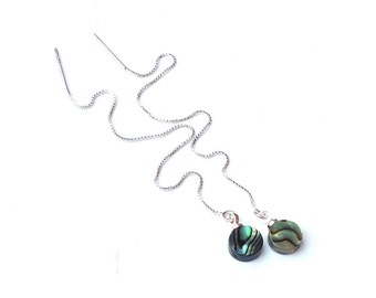 Abalone Earrings, Sterling Silver Ear Thread Earrings with Abalone Shell Coins, Paua Threader Earrings, Chain Earrings with Abalone Shell