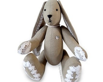 "11"" Lacy Bunny, Floppy Eared Rabbit Printed SEWING PATTERN & Easy Instructions"