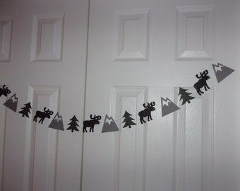 Moose, Mountain, Tree Garland - Medium & Charcoal Grey, Black Cardstock Paper Banner - Baby Shower, Birthday Party Hanging Wall Door Decor