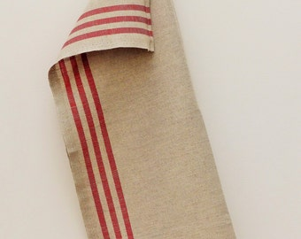 French Linen Torchon in Natural with Red Stripes