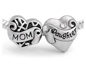 Mom Mother Daughter Charm Beads 2-Piece Set - Fits European Charm Bracelets G-MDLB1