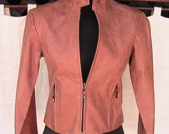 Extra Small USA Leather Jacket w zipper sleeve