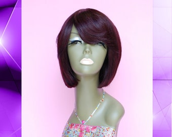 WiShe NY : 100% Remy Human Hair Wig - Red Wine Color Short Bob Wig