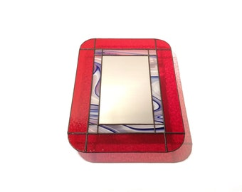 Stained Glass Mirror - Red with Blue Swirls - 40cm x 30cm