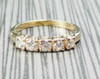 Vintage 14k Yellow Gold Diamond Wedding Ring 14k Gold Wedding Band Vintage Diamond Wedding Band Wedding Band 1/2 Carat Diamond Wedding Ring