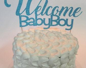 Glitter baby shower cake topper