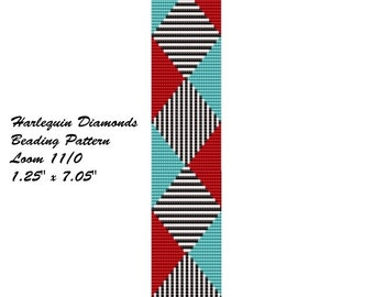 Turquoise and Red Harlequin Pattern Bracelet Loom 11/0 Beading Pattern